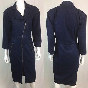 Vintage Denim Jean Asymmetric Zipper Shirt Dress